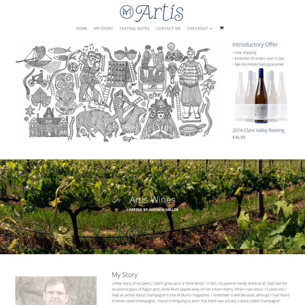 Artis Wines - Website Design & Development - Derek Armsden Design