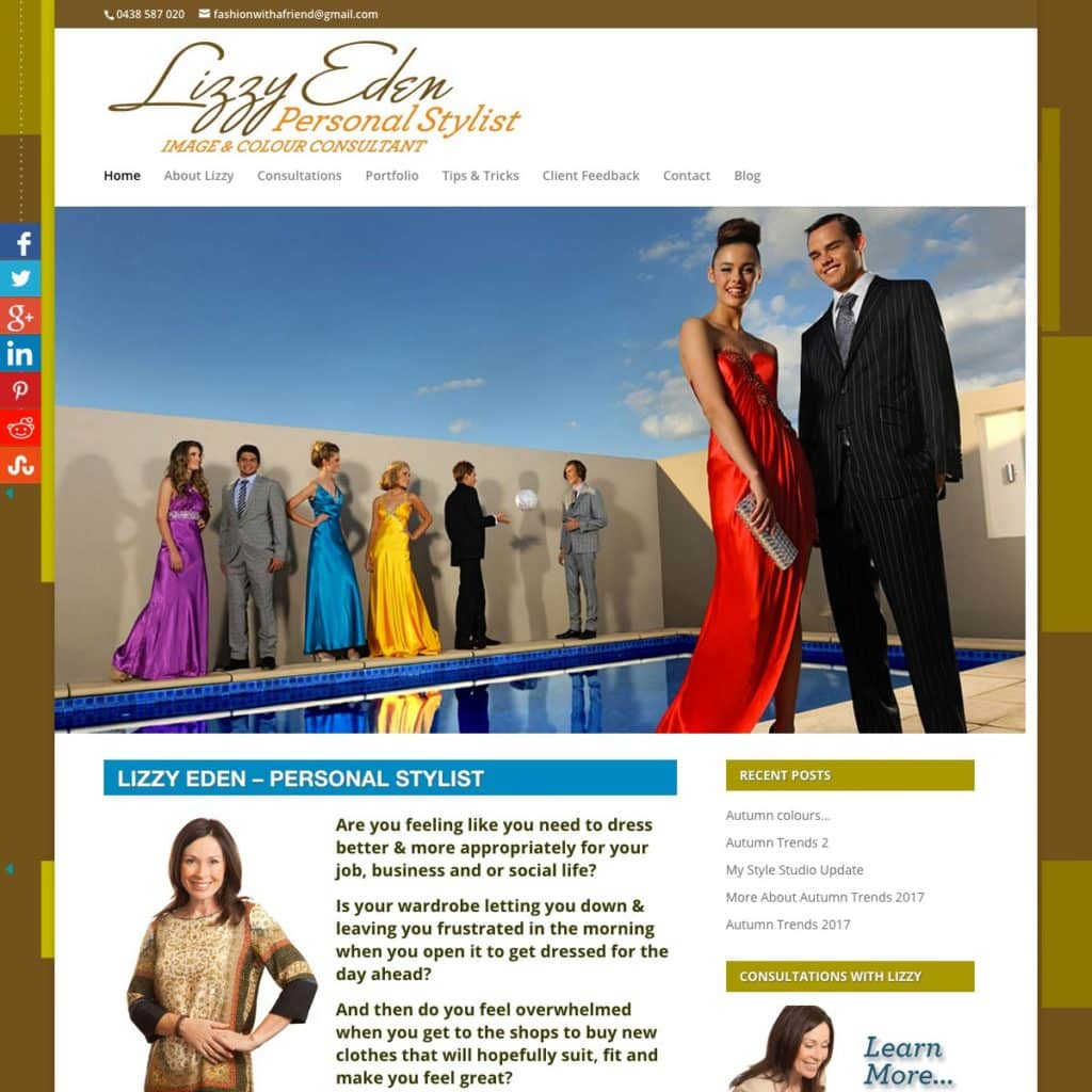 Lizzy Eden Personal Stylist - Website Design & Development - Derek Armsden Design