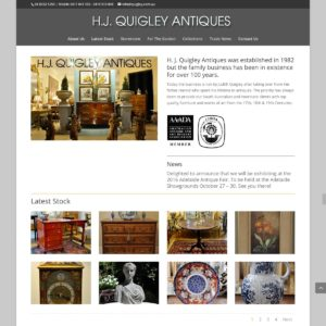 HJ Quigley Antiques - Website Design & Development - Derek Armsden Design