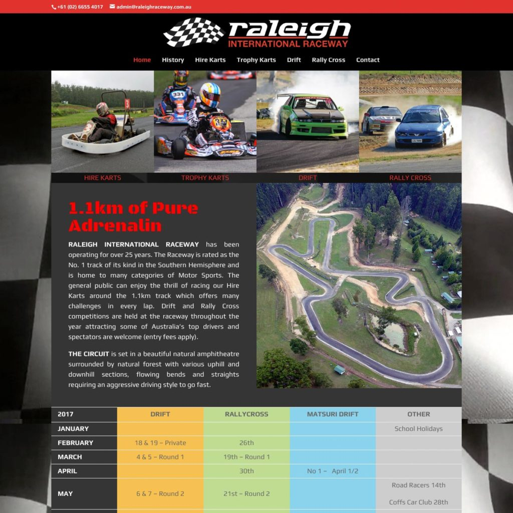 Raleigh International Raceway - Website Design & Development - Derek Armsden Design