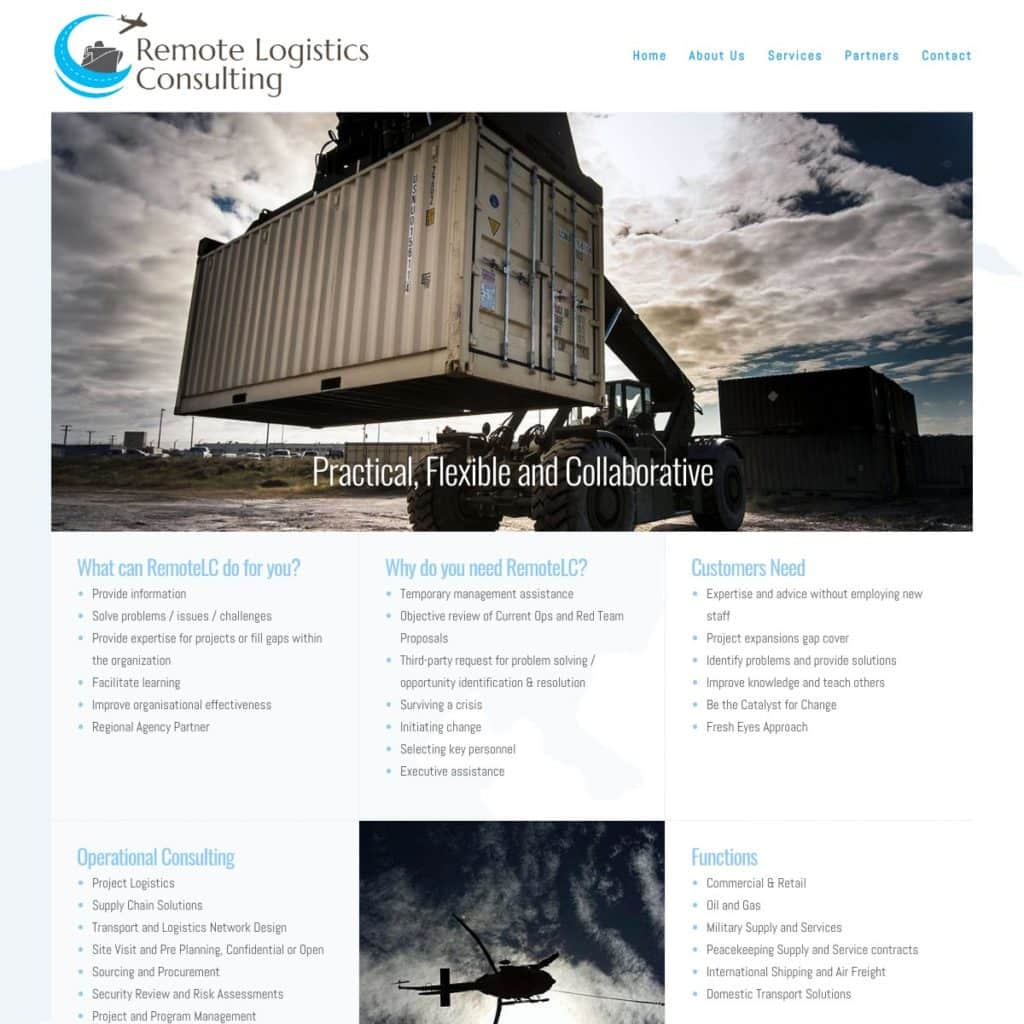 Remote Logistics Consulting - Website Design & Development - Derek Armsden Design