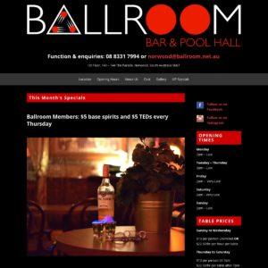 Ballroom Bar & Pool Hall - Website Design & Development - Derek Armsden Design
